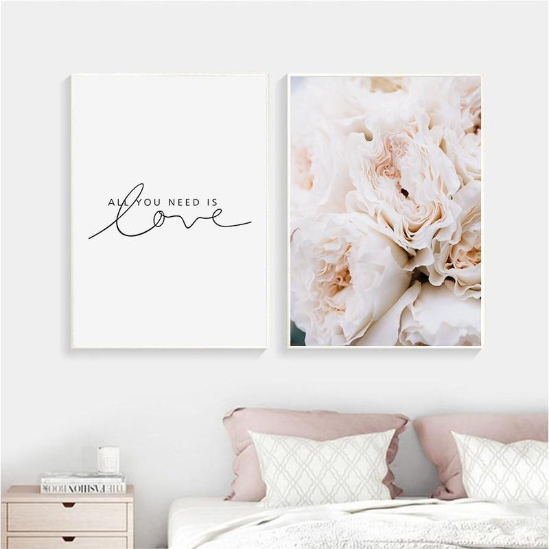 Blush Peonies And All Your Need Is Love Canvas Prints-Heart N' Soul Home-Heart N' Soul Home