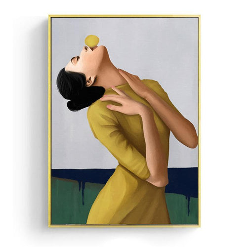 Bubble Chewing Gum Girl Series 2 Portrait Canvas Painting Prints-Heart N' Soul Home-13x18cm No frame-Girl In Mustard Dress-Heart N' Soul Home