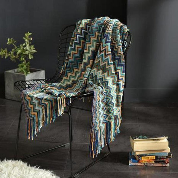 Colorful Bohemian Knitted Throw-Heart N' Soul Home-Bohemian-blue-130*(150+10*2 tassels) cm-Heart N' Soul Home