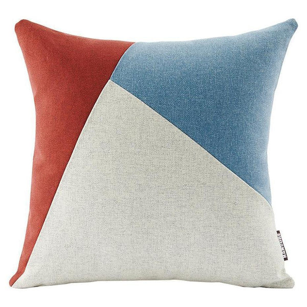 Colourful Edith Cushion Cover-Heart N' Soul Home-Wine red + light blue + beige-45*45cm-Heart N' Soul Home