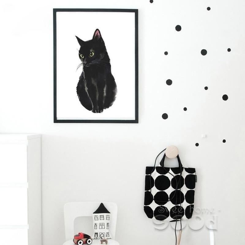 Cute Black Cat Canvas Painting Prints-Heart N' Soul Home-20X25CM No Frame-Heart N' Soul Home
