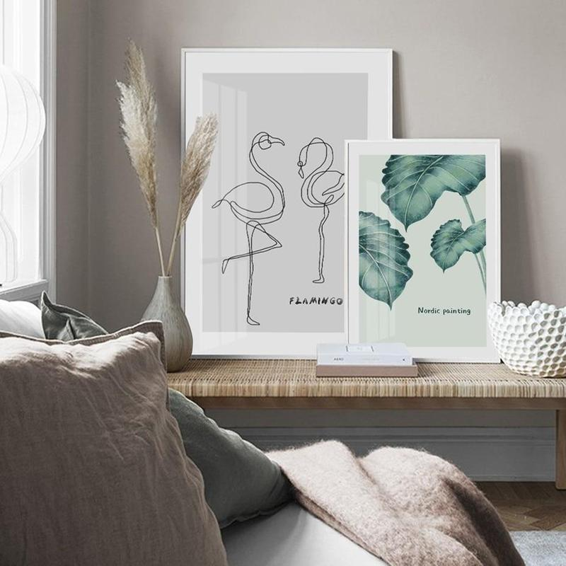 Deer, Green Leaves, Love, Flamingo Bird Canvas Painting Prints-Heart N' Soul Home-Heart N' Soul Home