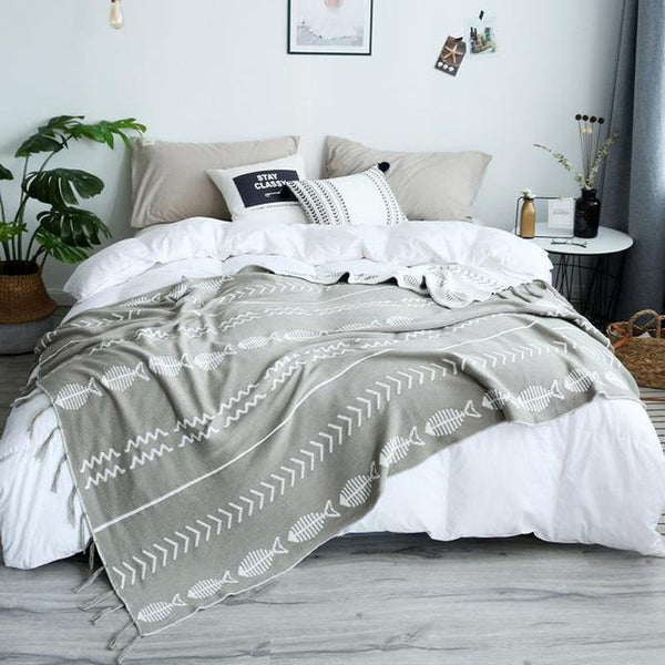 Double Side jacquard Fish Pattern Throw Grey-Heart N' Soul Home-gray-130*180cm-Heart N' Soul Home