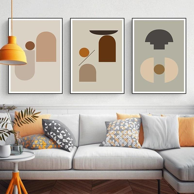 Earthy Color Abstract Geometric Canvas Prints-Heart N' Soul Home-Heart N' Soul Home