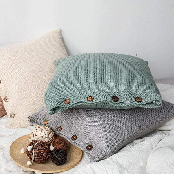 Esme Solid Color Knitted Cushion Cover-Heart N' Soul Home-Heart N' Soul Home