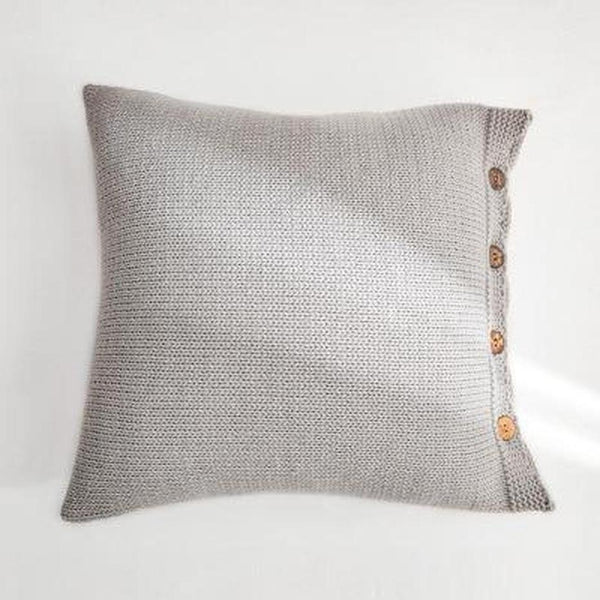Esme Solid Color Knitted Cushion Cover-Heart N' Soul Home-45x45CM NO FILLING-Light Grey-Heart N' Soul Home
