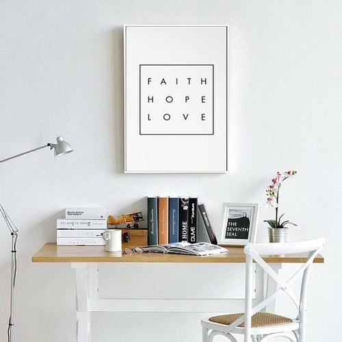 Faith Hope Love Canvas Painting Prints-HeartnSoulHome-10x15 cm no frame-Heart N' Soul Home