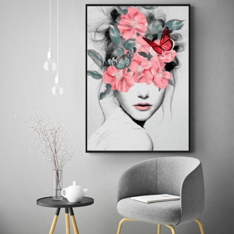 Flower Girl Portrait Canvas Painting Print-Heart N' Soul Home-Heart N' Soul Home