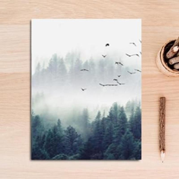 Fog Forest Birds Landscape Canvas Painting Prints-HeartnSoulHome-13x18 cm no frame-B-Heart N' Soul Home