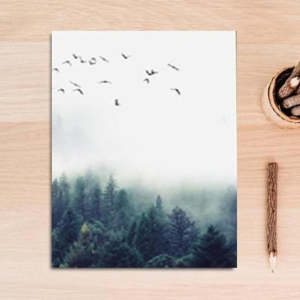Fog Forest Birds Landscape Canvas Painting Prints-HeartnSoulHome-13x18 cm no frame-C-Heart N' Soul Home