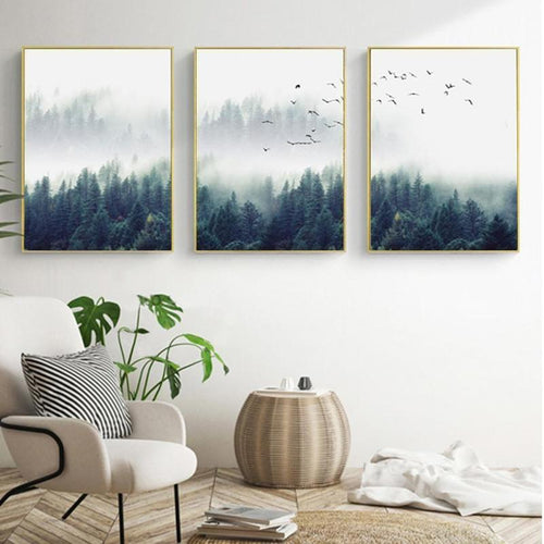 Fog Forest Birds Landscape Canvas Painting Prints-HeartnSoulHome-Heart N' Soul Home