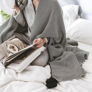 Geometric Black Stripe Knitted Cotton Throws-Heart N' Soul Home