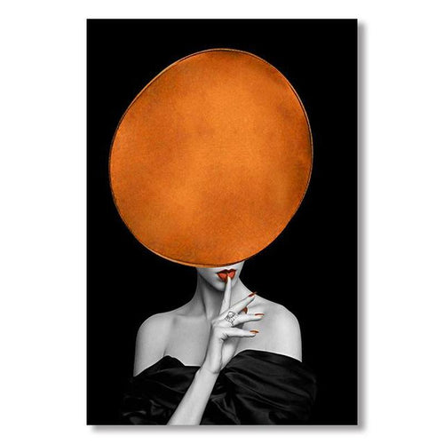 Girl With Bright Orange Hat Canvas Painting Print-Heart N' Soul Home-10x15 cm no frame-Heart N' Soul Home