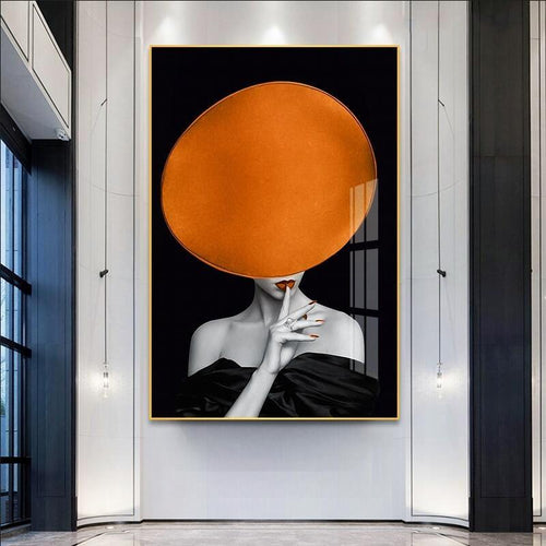 Girl With Bright Orange Hat Canvas Painting Print-Heart N' Soul Home-Heart N' Soul Home
