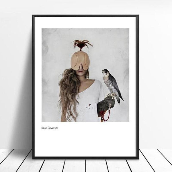 Girl With Eagle Modern Art Canvas Painting Prints-Heart N' Soul Home-15x20cm No frame-Heart N' Soul Home