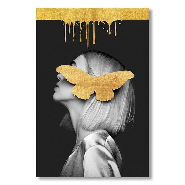 Girl With Golden Butterfly A Canvas Painting Print-Heart N' Soul Home-10x15 cm no frame-Heart N' Soul Home