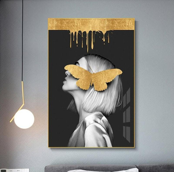 Girl With Golden Butterfly A Canvas Painting Print-Heart N' Soul Home-Heart N' Soul Home