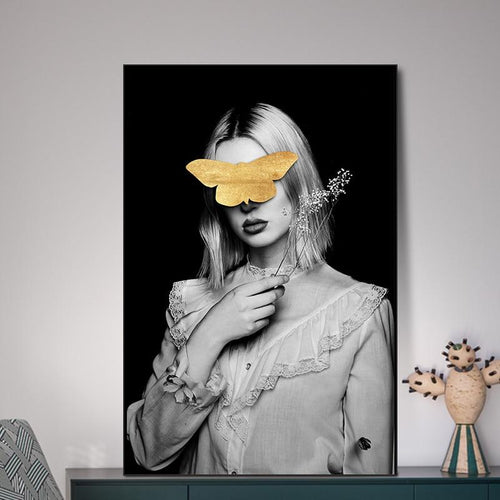 Girl With Golden Butterfly B Canvas Painting Print-Heart N' Soul Home-Heart N' Soul Home