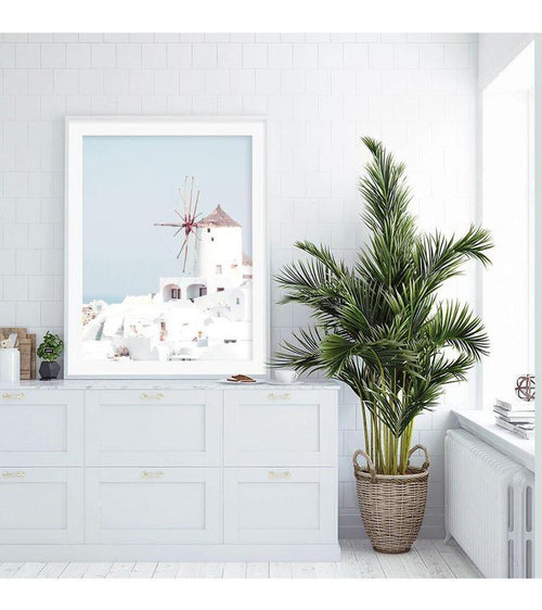 Greek Island White Windmill Canvas Print-Heart N' Soul Home-Heart N' Soul Home