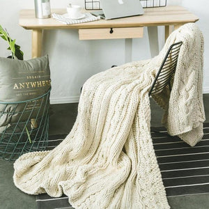 Handmade Oversize ( 200cm ) Cable Knit Chunky Throw-Heart N' Soul Home-White-150x200cm-Heart N' Soul Home