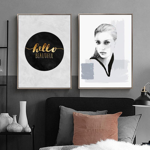 Hello Beautiful Nordic Canvas Prints-Heart N' Soul Home-Heart N' Soul Home