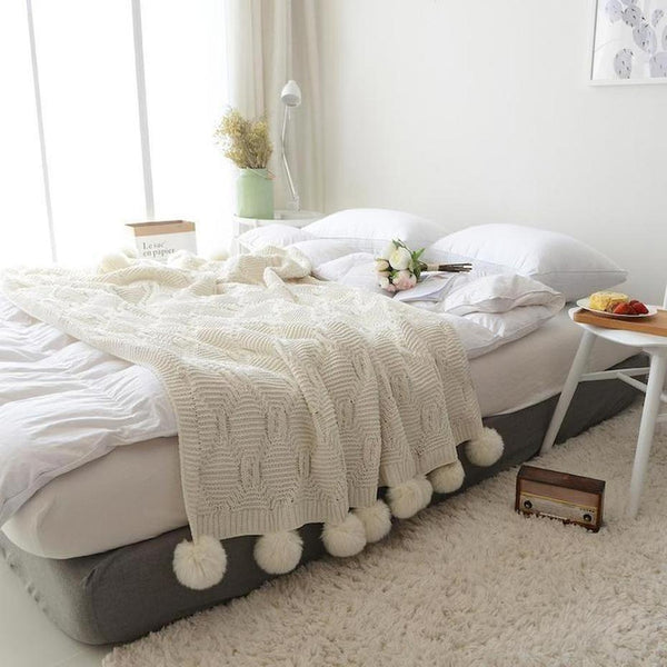 Isla Snow White Knitted Throw-Heart N' Soul Home-White-130x160CM-Heart N' Soul Home