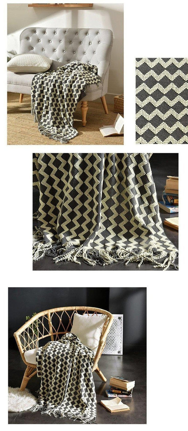 Kyra Wave Line Tassel Throw Grey-Heart N' Soul Home-Heart N' Soul Home