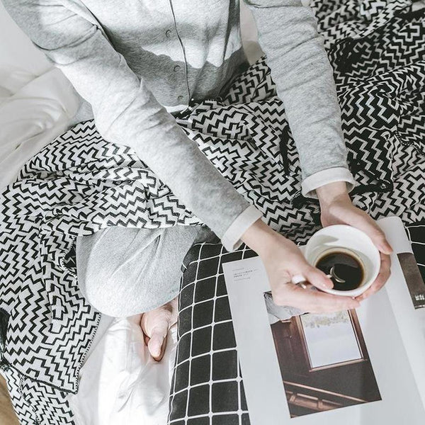Large Black White Cotton Geometric Pattern Knitted Cotton Throw-Heart N' Soul Home-black-130x180cm-Heart N' Soul Home