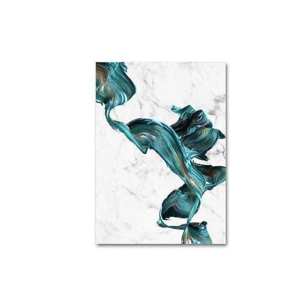 Marble Blue Water Color Canvas Painting Prints-Heart N' Soul Home-15x20cm no frame-A-Heart N' Soul Home