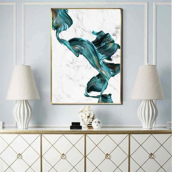 Marble Blue Water Color Canvas Painting Prints-Heart N' Soul Home-Heart N' Soul Home