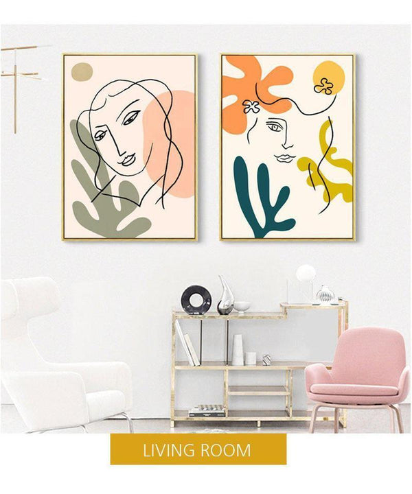 Matisse Style Abstract Line Art Canvas Prints-Heart N' Soul Home-Heart N' Soul Home