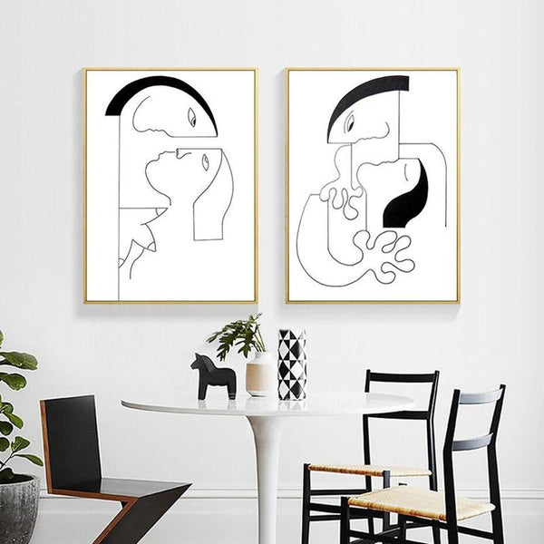 Minimalist Abstract Black White Couple Canvas Prints-Heart N' Soul Home-Heart N' Soul Home