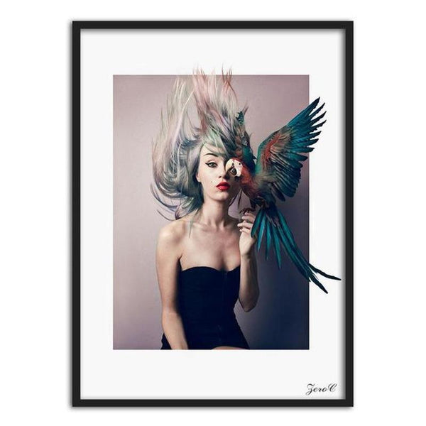 Nordic Art Girl With Colorful Parrot Canvas Painting Prints-Heart N' Soul Home-15x20cm No frame-Heart N' Soul Home