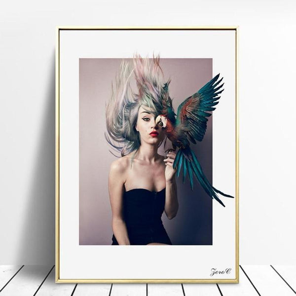 Nordic Art Girl With Colorful Parrot Canvas Painting Prints-Heart N' Soul Home-Heart N' Soul Home