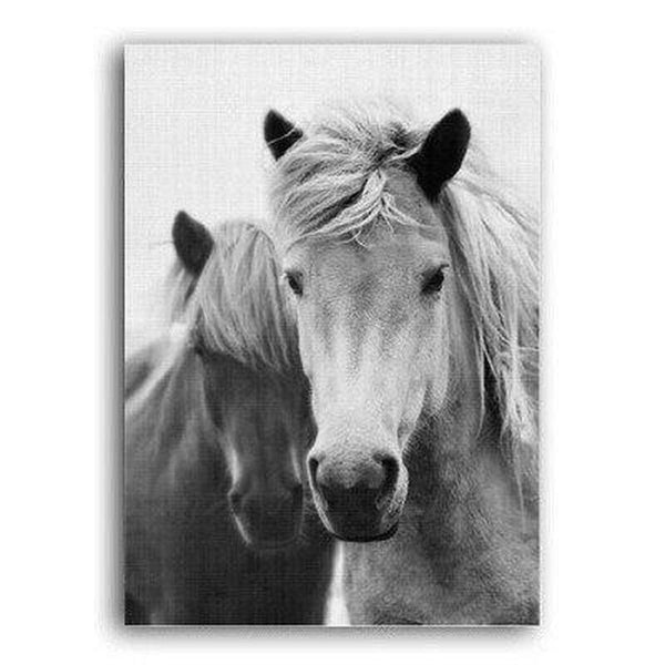 Nordic Black And White Horse Canvas Painting Print-Heart N' Soul Home-Heart N' Soul Home