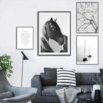 Nordic Black And White Wild Horse Canvas Print-Heart N' Soul Home-Heart N' Soul Home
