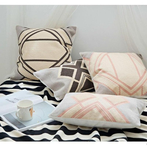 Nordic Geometric Art Embroidered Cushion Cover-Heart N' Soul Home-Heart N' Soul Home