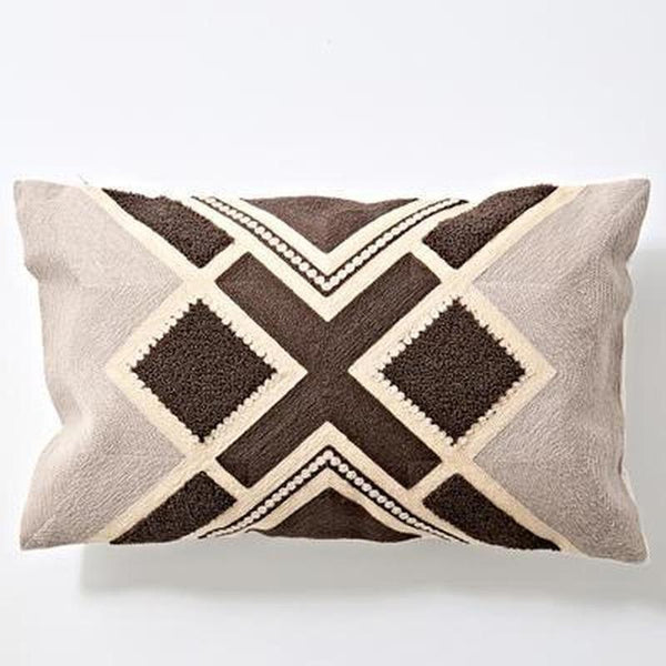 Nordic Geometric Art Embroidered Cushion Cover-Heart N' Soul Home-B 30x60cm-Heart N' Soul Home