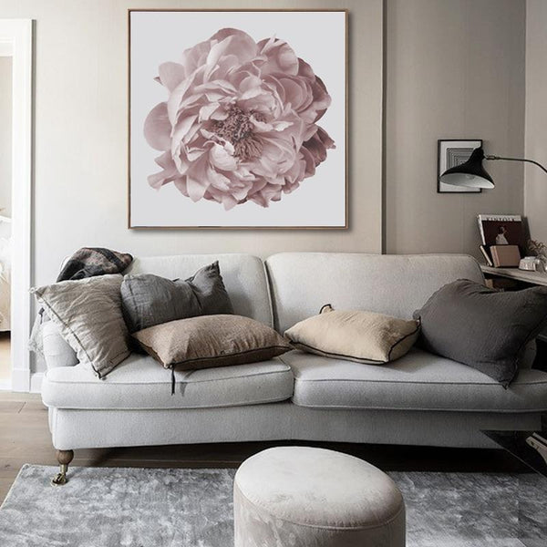 Nordic Large Peony Flower Canvas Print-Heart N' Soul Home-Heart N' Soul Home