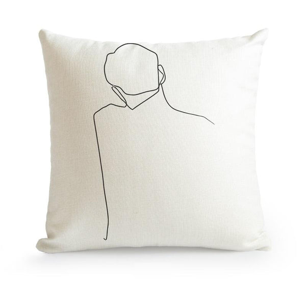 Nordic Minimalist Abstract Line Cushion Cover-Heart N' Soul Home-45X45cm No Insert-Back View-Heart N' Soul Home
