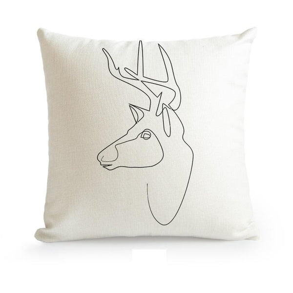 Nordic Minimalist Abstract Line Cushion Cover-Heart N' Soul Home-45X45cm No Insert-Deer-Heart N' Soul Home