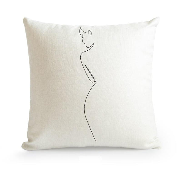 Nordic Minimalist Abstract Line Cushion Cover-Heart N' Soul Home-45X45cm No Insert-Side View-Heart N' Soul Home