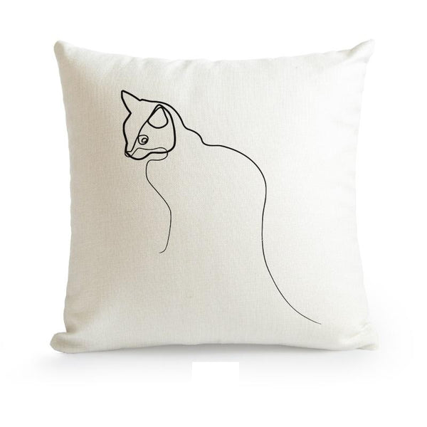 Nordic Minimalist Abstract Line Cushion Cover-Heart N' Soul Home-55????55cm No Insert-Cat-Heart N' Soul Home