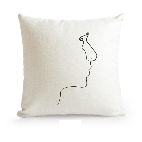 Nordic Minimalist Abstract Line Cushion Cover-Heart N' Soul Home-55????55cm No Insert-Face-Heart N' Soul Home
