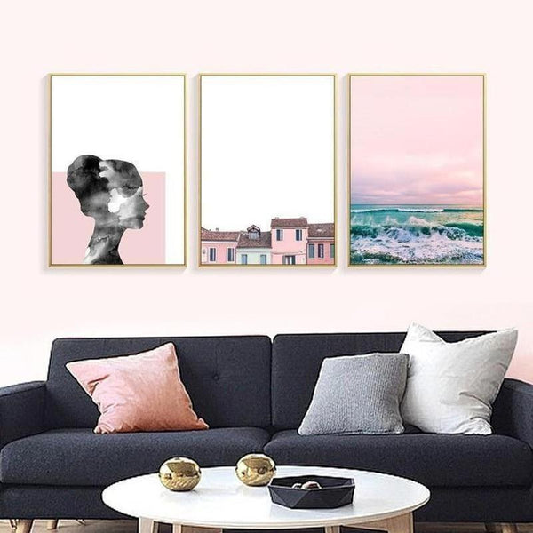 Nordic Pink City Canvas Painting Prints-Heart N' Soul Home-Heart N' Soul Home