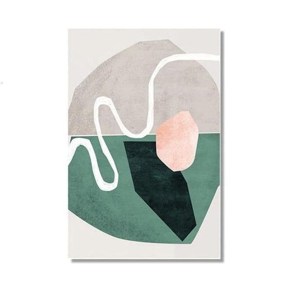 Nordic Scandinavia Green Mustard Abstract Shape Canvas Prints-Heart N' Soul Home-13x18 cm no frame-Green / Grey-Heart N' Soul Home