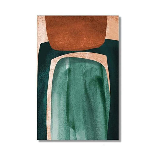 Nordic Scandinavia Green Mustard Abstract Shape Canvas Prints-Heart N' Soul Home-13x18 cm no frame-Green / Mustard-Heart N' Soul Home