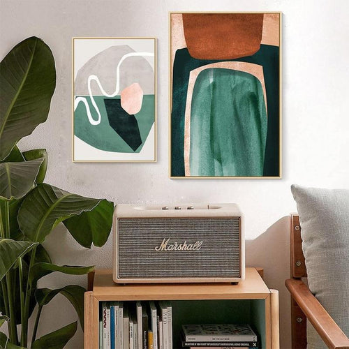 Nordic Scandinavia Green Mustard Abstract Shape Canvas Prints-Heart N' Soul Home-Heart N' Soul Home