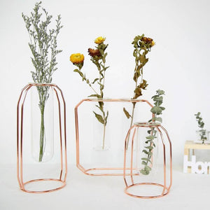 Nordic Style Glass and Iron Vase Flowerpot-HeartnSoulHome-Heart N' Soul Home