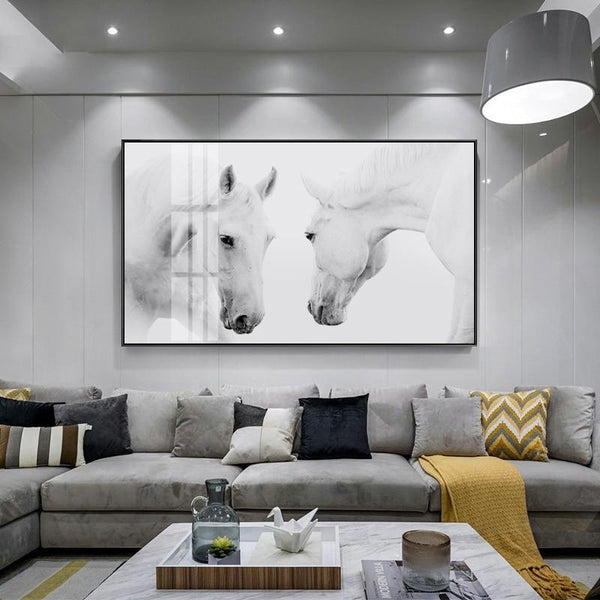 Nordic White Horse Canvas Print-Heart N' Soul Home-40x20cm no frame-Heart N' Soul Home